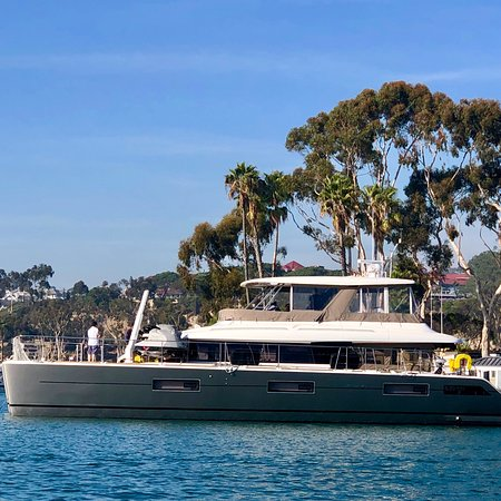 DANA POINT HARBOR, Ca!  Awesome to see a 😍Beautiful Catamaran 630 Motor Yacht in the Harbor!