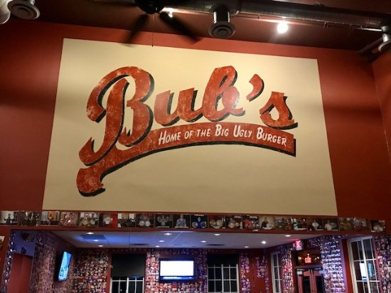 Bub's Burgers & Ice Cream: Bubs sign with pictures on the wall of those who have completed the one pound burger challenge!