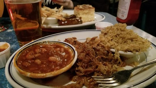 Redbones Barbecue: Pulled pork with dirty rice and beans