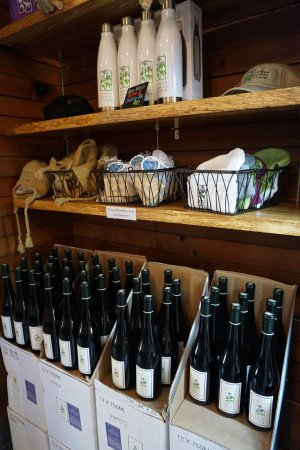 Wine and swag for sale at Pennyroyal Farm in Boonville.