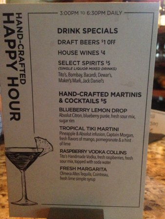 Drink Specials For Happy Hour At The Bar Picture Of