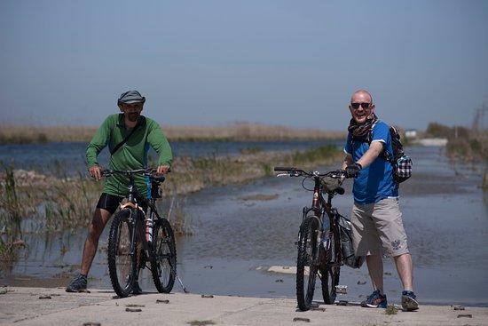 Sulina, Romania: Setting off on the bikes