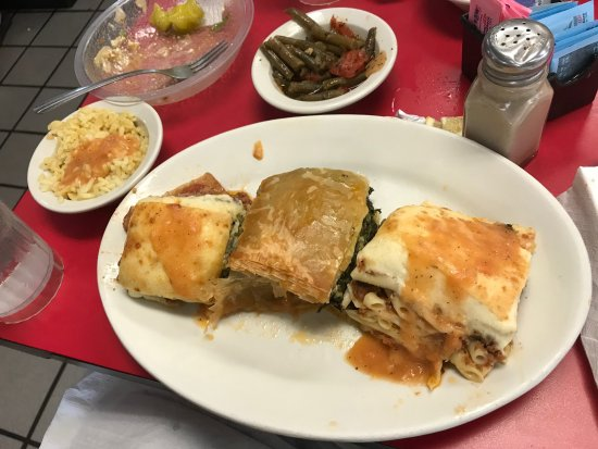 Jimmy's Greek American Grill: Jimmy's sampler with Mousakka, Spanakopita and Pasticio