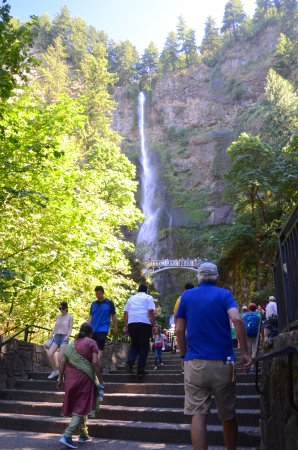 the climb up to Multnomah Falls