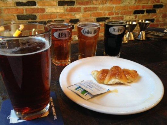 Morgan's Tavern & Grill: Warm croissants and beer sampler