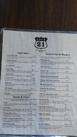 Front of the Menu at Cafe 21 in Muleshoe, Texas