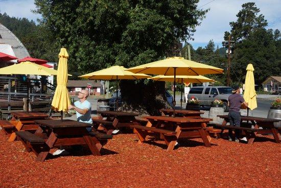Monte Rio, Californië: Terrasse agréable et parking aisé: parfait!