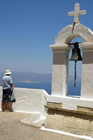 Creta, Grecia: The dormitory roof and belltower, looking to Agios Nikolaos