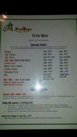 Cool Runnings Jamaican Grill: Menu