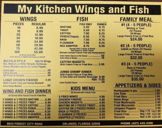 Menu Picture Of My Kitchen Wings Fish Orlando Tripadvisor