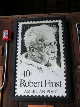 Robert Frost Farm State Historic Site: Robert Frost Postage Stamp - One Of The Display Items Inside Barn