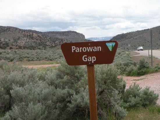 Parowan Gap signpost - near Parowan Utah