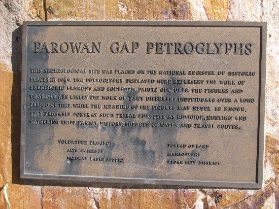 Parowan Gap Petroglyphs placard