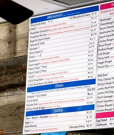 Lovelock, NV: Close up pf menu