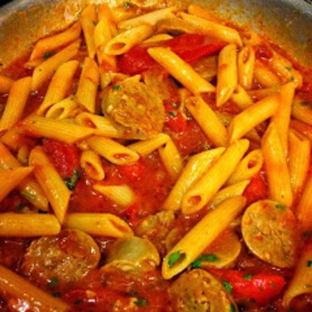 Natrona Heights, PA: Finishing a Roasted Red Pepper & Italian Sausage Dinner
