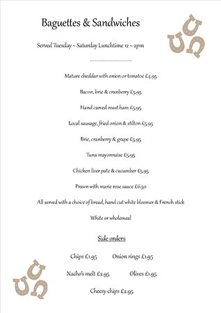 Wheathill, UK: Our Sandwich & Baguette Menu