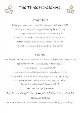 Wheathill, UK: A sample of our menu