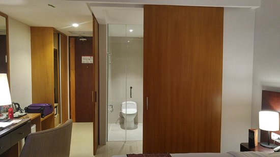 Sliding Door As A Divider Within Bedroom And Bathroom
