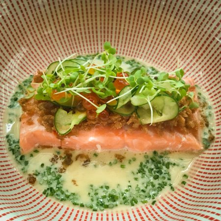 Water Library Chamchuri : Scottish salmon served with pickled cucumber and chive veloute