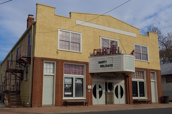 The exterior of the Church Hill Theatre.  An art deco gem on the Eastern Shore.