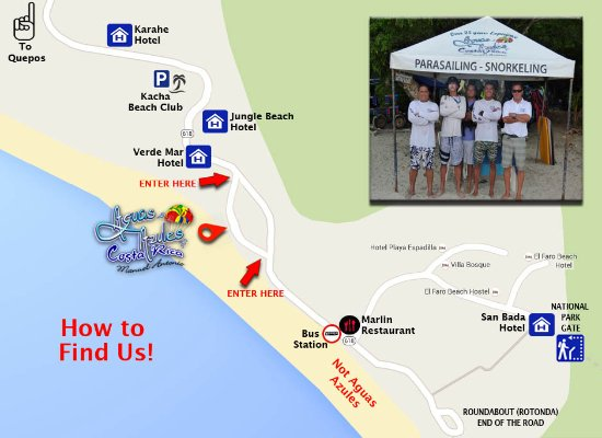 A map to easily find us at the beach Picture of Aguas Azules