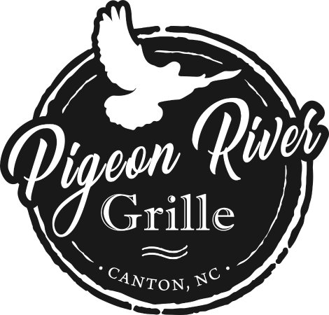 ‪‪Canton‬, ‪North Carolina‬: Pigeon River Grille logo featuring silhouette of Martha the Passenger Pigeon.‬