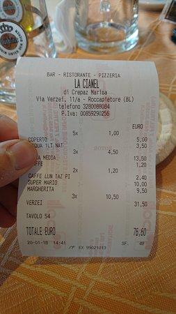 Malga Ciapela, Italia: il nostro conto
