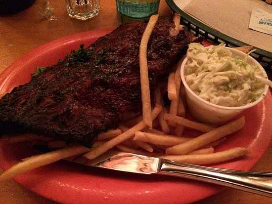 The Silver Moon: The half portion ribs with slaw and fries.