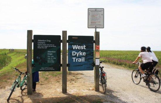 Biking on West Dyke Trail Richmond BC