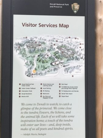 Denali Visitor Center: Visitor Services Map shows the many offerings of Denali Visitors Center