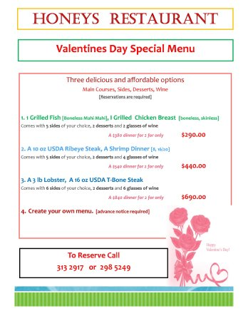 Valentines Day Specials Picture Of Honeys Restaurant Mount
