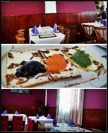 La Esperanza, Spain: Detalle del interior y plato de queso asado con los diferentes mojos y arándanos.