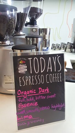 Woodend, Yeni Zelanda: Espresso coffee choices - changes weeekly