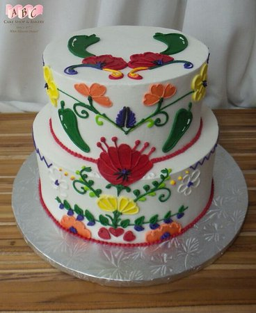 Astonishing Spanish And New Mexico Influenced Piping On 2 Tier Cake Picture Funny Birthday Cards Online Inifodamsfinfo