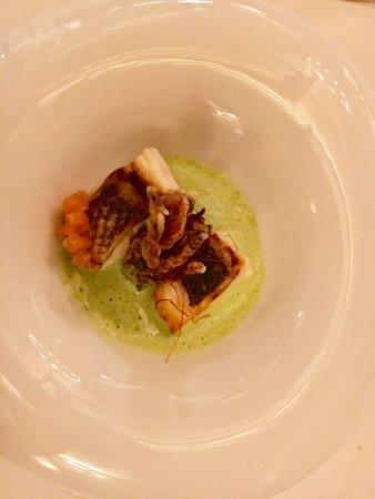 Restaurante Oleum: Lubina con cangrejo y cremoso de berros