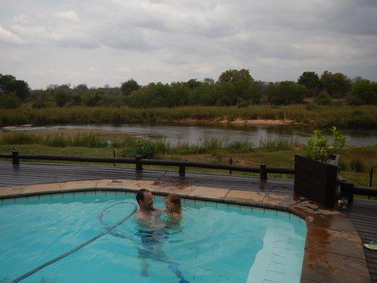 Sabie River Bush Lodge: brincando na piscina e esperando os elefantes aparecerem.