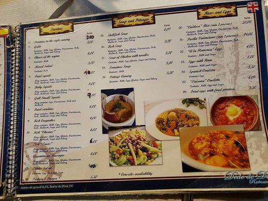 Dedo de Dios: menu...jakie ceny takie jedzenie
