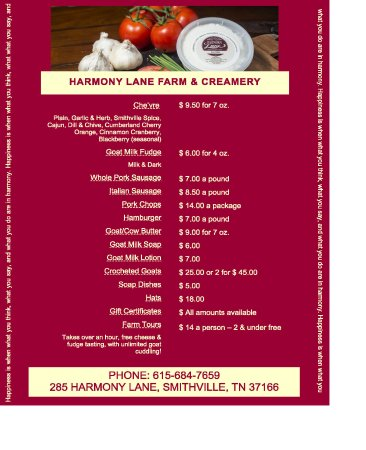 Smithville, TN: ~~Farm Store MENU~~