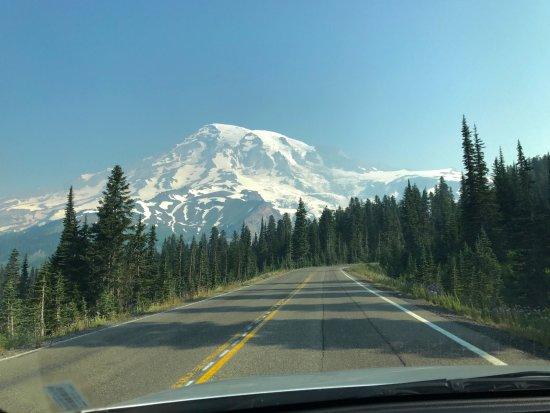 Slightly hazy but beautiful Mt Rainier in Paradise