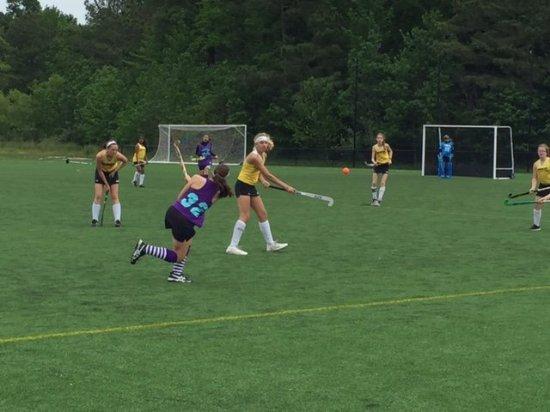Frederica, DE: Girls lacrosse practice during a spring program