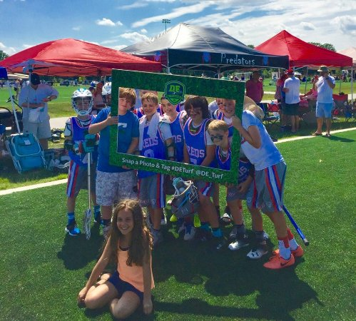 Frederica, DE: Kids using our instagram cut out at a game weekend