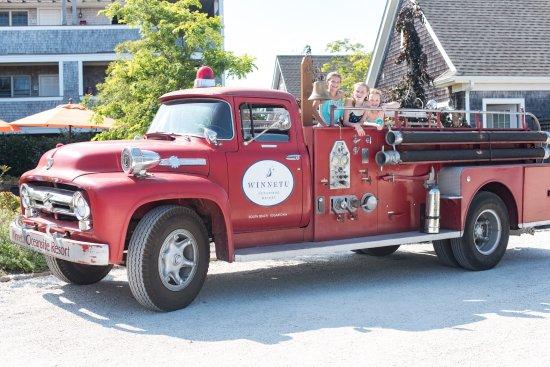 Winnetu Oceanside Resort: Going for a fun ride in the Winnetu's antique fire truck.