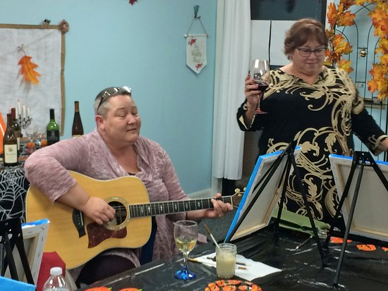 "Bigfork, MT: Jenna Serenading us at ""Autumn Birch Tree"" Painting Class"