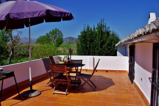 Finca Retama Farmstead: Finca Retama 3 bed apartment terrace overlooking Grazalema national park