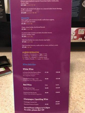 Ashling Hotel: Room service menu