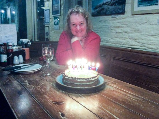 Port William Inn: The birthday cake presented to my partner