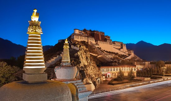 Lhasa, China: The Potala place night view with majesty.