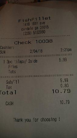 Cordele, GA: My Receipt