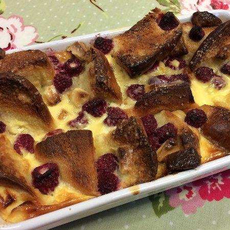 The Coffee Pot: Delicious indulgance -  Brioche, raspberry & white chocolate pudding.