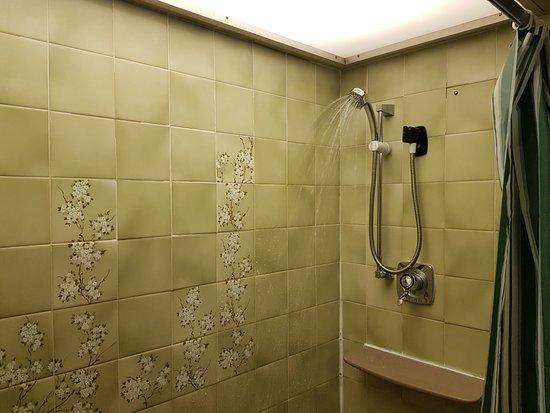 Renishaw, UK: Shower struggled to flow. Dirty shower head.